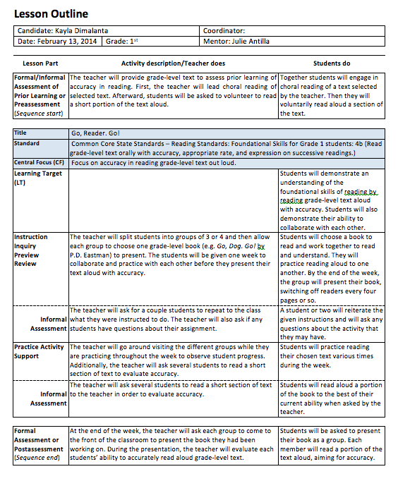 H Coursework Lesson Plans Kayla Dimalantas BPortfolio - College lesson plan template